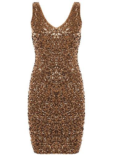 PrettyGuide Women Sexy Deep V Neck Sequin Glitter Bodycon Stretchy Mini Party Dress Gold L