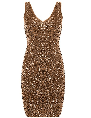 PrettyGuide Women Sexy Deep V Neck Sequin Glitter Bodycon Stretchy Mini Party Dress Gold -