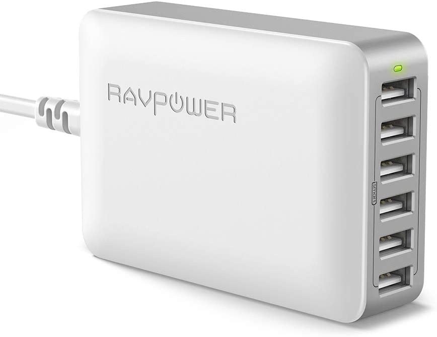 USB Charger RAVPower 60W 12A 6-Port Desktop USB Charging Station with iSmart Multiple Port, Compatible iPhone SE 11 Pro Max XS XR X iPad Pro Air Mini Galaxy S10 Note 10 Tablet and More (Grey White)