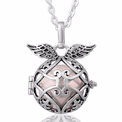 18mm Ball Necklace Chain (EUDORA Harmony Bola Angel Wing Locket Pandent Necklace 18mm Musical Chime Ball & 30'' Chain Peach)
