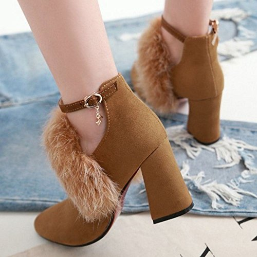 Fashion Bootie Boots Brown Women TAOFFEN Strap Ankle 6Twxp5n8q