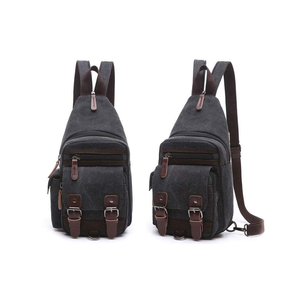 Color : Black, Size : 34x17x10cm YWJ Backpack Mens Casual Sports Light Canvas Shoulder Bag Messenger Bag Shoulder Bag Female Fashion Trend Chest Bag 34x17x10cm