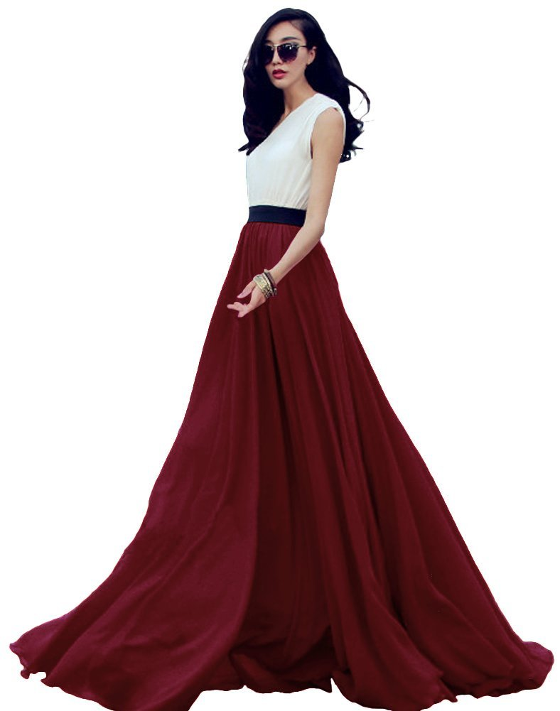 Urban CoCo Women's Summer Chiffon Mopping Floor Length Big Hem Solid Beach Maxi Skirt (M, Wine red)