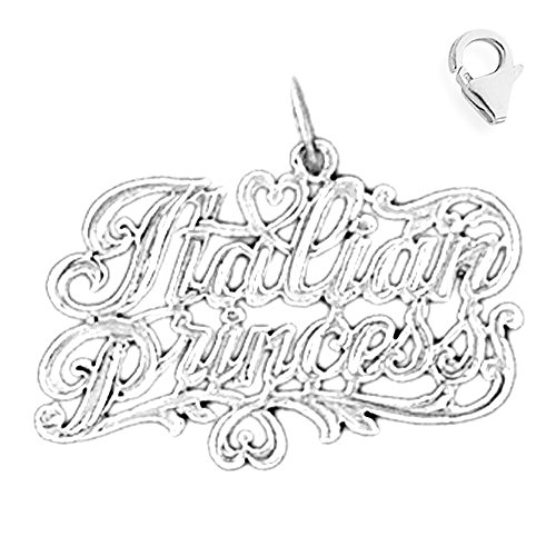 (Jewels Obsession Italian Princess Pendant | Sterling Silver 22mm Italian Princess with 7.5
