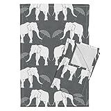 Roostery Elephant Grey Linen Umbrella White Animal Tea Towels Elephant_and_Umbrella_Grey by Holli Zollinger Set of 2 Linen Cotton Tea Towels
