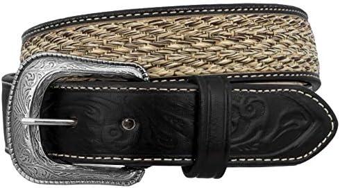 El Presidente - Boys Toddler Black Tooled Braided Cowboy Belt Removable Buckle
