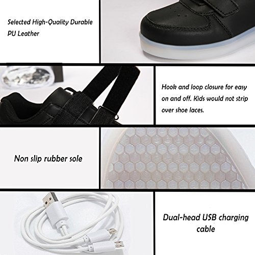 Voovix Kids LED Light up Shoes Lighting Low-Top Sneakers for Boys and Girls(Black,US11/EU29) by Voovix (Image #6)