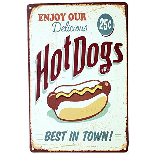 Hot Dog Signo Arte Del Cartel Casa Bar De Aperitivos Tienda ...