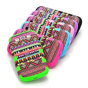 Red Aztec Tribal Hard Hybrid Shockproof Drop Resistant Case Cover Full Body for Samsung Galaxy S3 i9300 , Blue