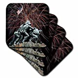 3dRose Sandy Mertens Marine Corp Memorial with Fireworks Coaster, Soft, Set of 8