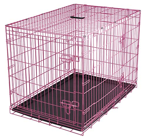- Internet's Best Double Door Steel Crates Collapsible and Foldable Wire Dog Kennel, 36 Inch (Medium), Pink