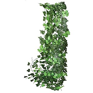 ALIERSA 12 Strands-94ft Artificial Shrubs Vines Creeper Green Ivy Silk Leaves Wreath for Wedding Home Outdoor Garden Office Wall Cover Decoration 55