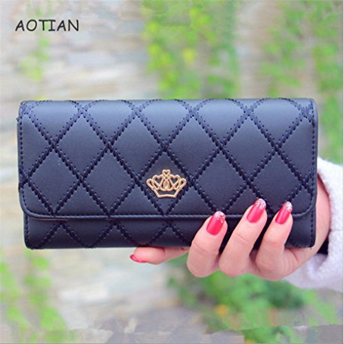 WensLTD_ Clearance! Fashion Womens Clutch Long Purse Leather Wallet Card Holder Handbag Bags (Black)