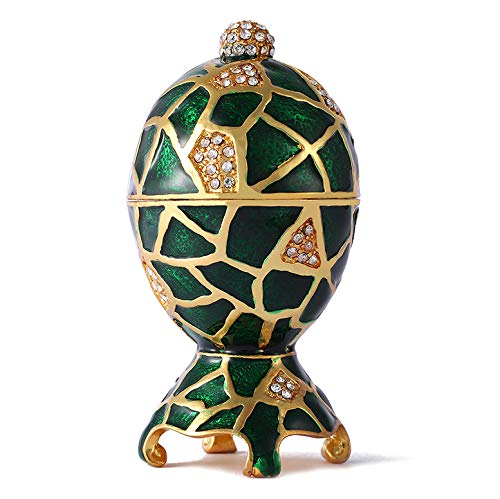 QIFU Vintage Style Hand Painted Faberge Egg Shape Jewelry Trinket Box with Rich Enamel and Sparkling Rhinestones | Unique Gift Home Decor | Best Ornament Your ()