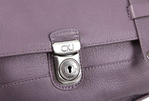 Calvin Klein women's leather cross-body messenger shoulder bag purple