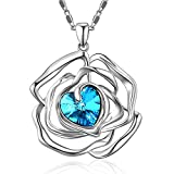 "Menton Ezil ""Rose Lover"" Swarovski Necklace 18K White Gold Flower Pendant Fashion Jewlery - Gift of Love"