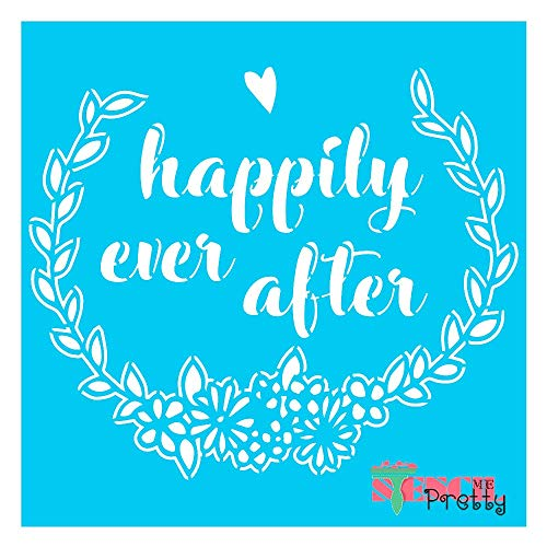 Standard Brilliant Blue Color Material Stencil - Happily Ever After DIY Wedding Flower Wreath Sign Making Template-S (11