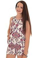 FANTASIA BOUTIQUE ® Ladies Sleeveless Floral Aztec Crepe Textured Open Back Flare Romper Playsuit