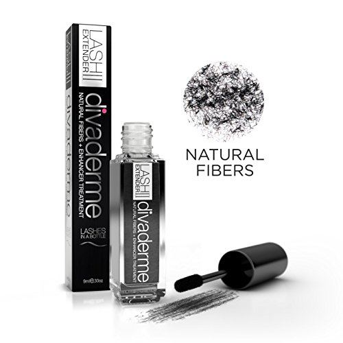 Divaderme Lash Extender II - 100% Natural Eyelash Fibers + Enhancer Treatment - Increases Your Lashes By 1000% - Made in USA (1 Pack)