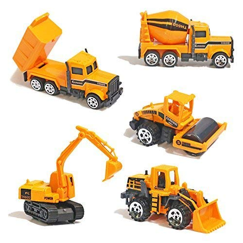 Alloy Construction Engineering Truck Models Mini Pocket Size Play Vehicles Cars Toy Cake Toppers for Kids Toddlers Boys (5Pcs Set)