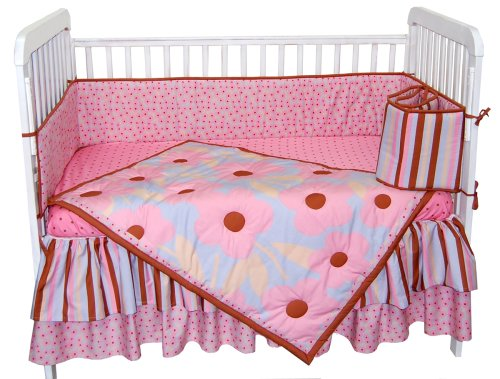 Tadpoles Crib Set (Tadpoles Field of Flowers 4 Piece Crib Set in Pink and Periwinkle)