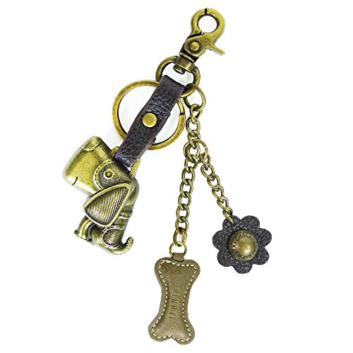 Chala Bronze Color Metal- Purse Charm, Key Fob, keychain decorative accessories (Dog)