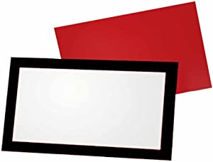 Black and Red Place Cards - Flat or Tent - 10 or 50 Pack - White Blank Front with Border - Placement Table Name Seating Stationery Party Supplies - Occasion or Dinner Event (10, Flat Style)