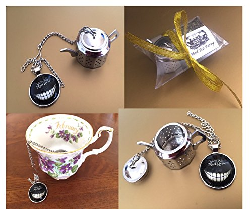 Alice in Wonderland inspired Tea infuser, small gift set, Loose Tea Infuser, mad hatter tea party, mini teapot, Tea Strainer, Cheshire cat (Herbal tea sample)