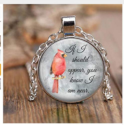 Cardinal Jewelry Parrot Necklace Cardinal Red Bird Necklace Round Glass Dome cabochon Christmas Gift for him or for her