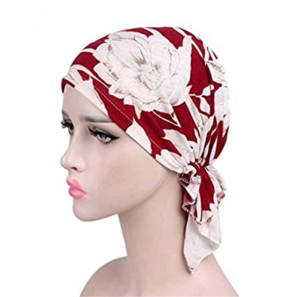 9c136f6c5ae Image Unavailable. Image not available for. Color  Wcysin Women Cotton  Bandana Scarf Pre Tied Chemo Hat Beanie Turban Headwear for Cancer Patients  Ladies