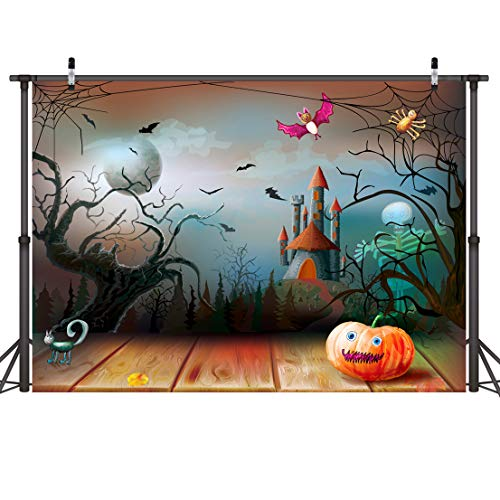 (LYWYGG Halloween Comic Backdrop 7x5ft Horror Forest Photography Backdrops Pumpkin Photo Background for Deserted Shack Backdrop Shooting Light Brown Board Backdrop CP-83)