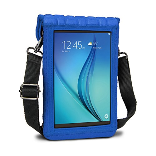 7 Inch Tablet Case Neoprene Sleeve Cover w/ Built-in Screen Protector & Carry Strap by USA Gear (Blue) Fits 2017 Samsung Galaxy Tab A2 S 8