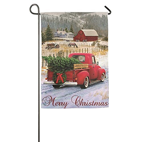 Christmas Truck Farm Garden Flag House Banner Gifts Nativity Decorative Party Yard Be Merry (Countdown Rings Christmas)