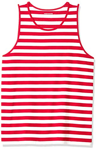 Amazon Essentials Men's Regular-Fit Stripe Tank Top, Red/White, X-Small ()