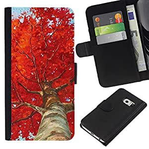 iBinBang / Flip Funda de Cuero Case Cover - Tree Birch Red Leaves Nature - Samsung Galaxy S6 EDGE SM-G925