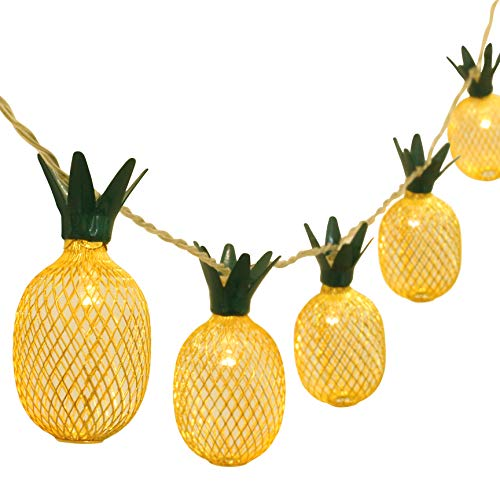 (Betus 6.5 Ft 10 LEDs Pineapple Fairy String Light - Decor Gifts Battery Operated for DIY Christmas Tropical Theme Party Festival Home Party Bedroom Birthday Decoration (Warm White) )