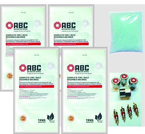 ABC Balancing Beads DIYOR-10 - For Pick Up Truck/Off Road - Kit contains 4 x 10oz Bags (40oz) of ABC Balancing Beads, 4 Valve Cores, 4 ABC Valve Caps American Balancing Corp