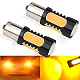 Super Bright 1156 1141 7.5W LED Bulb COB BA15S Amber Brake Stop Parking Tail Light Turn Signal Bulbs Side Makers Lamp DC12-24V P21W 2Pcs