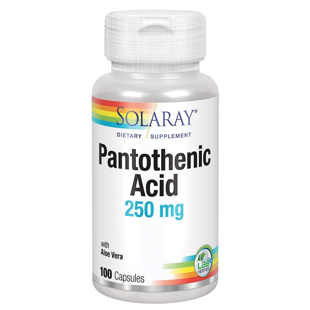 Solaray Pantothenic Acid 250mg | Vitamin B5 | Energy Metabolism, Hair, Skin, Nails & Digestive Support | 100CT
