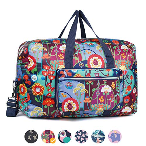 - Foldable Travel Duffel Bag Floral Print Luggage Sports Gym bag for Men and Women (50L, Colorful F)