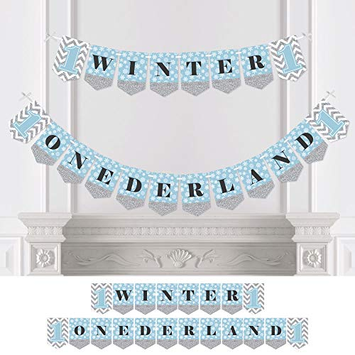Big Dot of Happiness Onederland - Holiday Snowflake Winter Wonderland Birthday Party Bunting Banner - Party Decorations - Winter Onederland