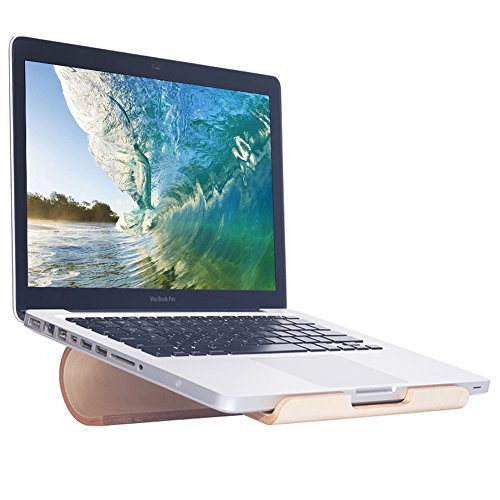 SAMDI Heighten Wood Notebook Stand for Portable Macbook, iPad Pro Mini Air, Samsung, Huawei, Other Tablet Pc - (White Birch)