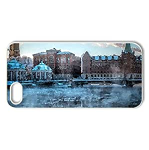 city bridge over frozen river - Case Cover for iPhone 5 and 5S (Bridges Series, Watercolor style, White)