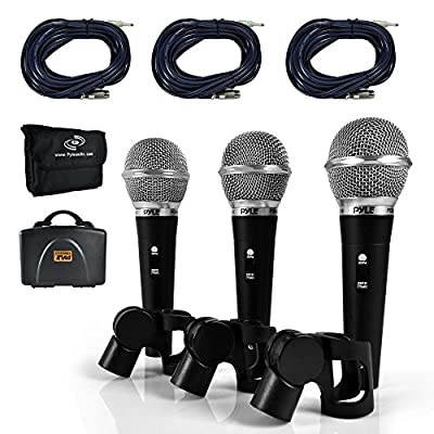 Pyle Professional Dynamic Microphone Kit - 3 Microphones Included - Vocal Microphone - Cardioid Unidirectional Handheld Mic - XLR Connection (Includes XLR Audio Cables) (PDMICKT34) by Sound Around