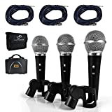 Pyle Professional Dynamic Microphone Kit - 3 Microphones Included - Vocal Microphone - Cardioid Unidirectional Handheld Mic - XLR Connection (Includes XLR Audio Cables) (PDMICKT34)