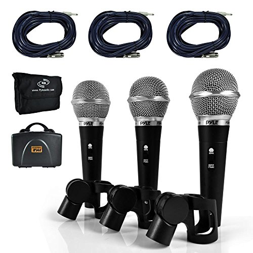 - Pyle 3 Piece Professional Dynamic Microphone Kit Cardioid Unidirectional Vocal Handheld MIC with Hard Carry Case & Bag, Holder/Clip & 26ft XLR Audio Cable to 1/4'' Audio Connection (PDMICKT34)