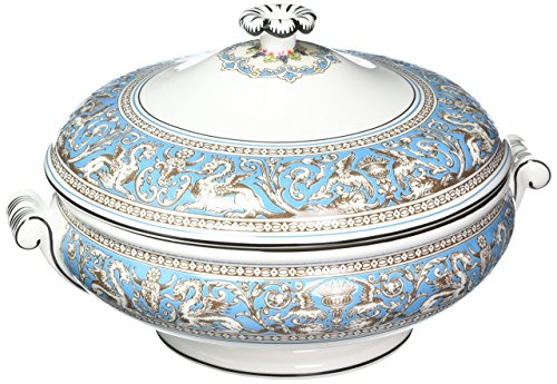 Wedgwood 50102608638 Florentine Covered Vegetable Dish, Turquoise (China Wedgwood Covered Dish Vegetable)