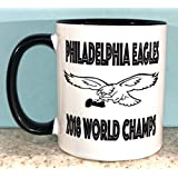 Trendz Shirts & Decals Eagles World Champs Coffee Mug Cup- Logo with Trophy