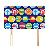 Ready Steady Bed Road Signs Design Children's Single Headboard 3ft Bed Size Foam Upholstered