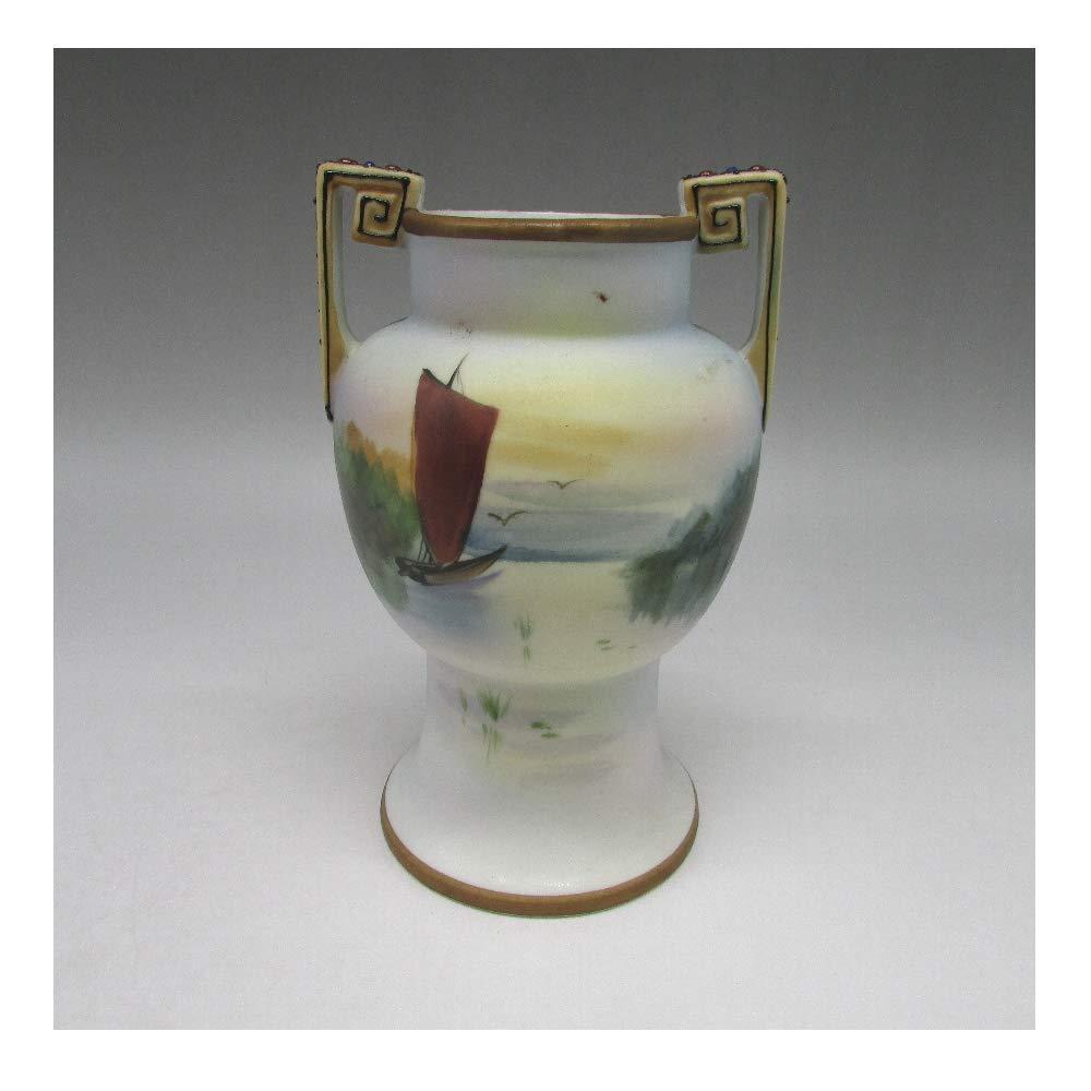 オールドノリタケ : 夕焼湖畔帆船文花瓶 【 1911年頃 - 1921年頃 】【 アンティーク 】 B07SHP97SL